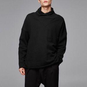Zara men black shawl collar sweatshirt